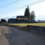 敷地東側公道と右側の物件を撮影。物件は一段高い位置にあります。