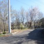 物件東南側舗装公道の北方向を撮影。敷地は道路左側。