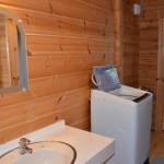 洗面・洗濯機置き場。奥が露天風呂へのドア。