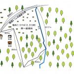 土地形状図。伐採部分は敷地北側1000坪程。敷地南側1200坪程は林のまま。
