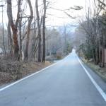 物件までの舗装公道。正面方向が小淵沢インターへの道。