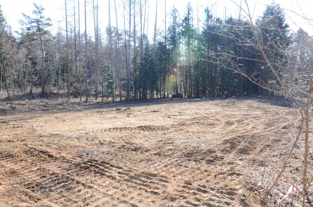 敷地北西側から東南方向の接道方向を撮影。