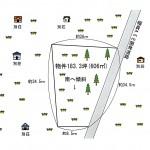 土地形状図。敷地北東側がカラマツ林。南側は草地。周囲に別荘が点在。