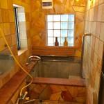 丸ログハウス地下浴室の西方向を撮影。
