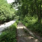 物件北側の幅員約2.5mの公道。約60mで左側の県道に接続。