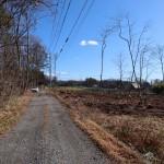 物件北西側から東方向を撮影。道路左側は雑木林、右側奥が物件。
