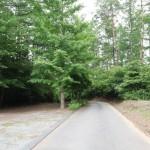 物件北側舗装公道の東方向を撮影。正面 (東方向)に進むと約150mで県道(鉢巻道路)へ接続。