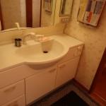 洗面。右側が引き戸のトイレ。