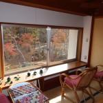 2階の階段ホール付近。庭の風景を楽しむスペース。窓には引き戸付き。
