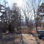 敷地から南方向を撮影。木々の間に南アルプスを眺望。