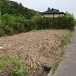 物件北西側から南方向を撮影。敷地は草が刈られた部分。